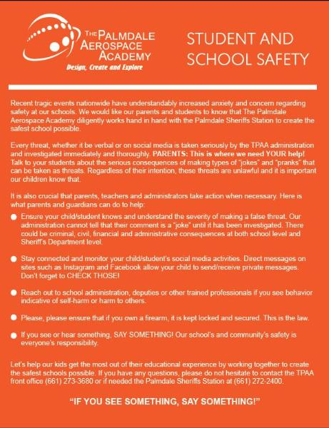Student and School Safety - High School News - The Palmdale